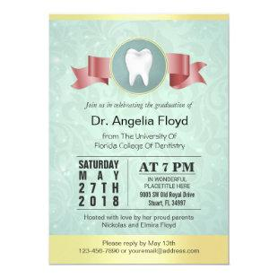 Dental Health Dentist Hygienist Graduation Invite