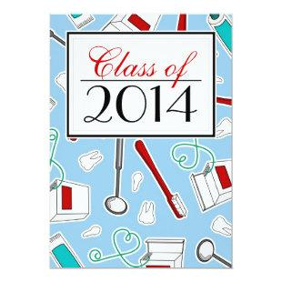 Dental Hygienist / Dental School Graduation - Blue Invitation