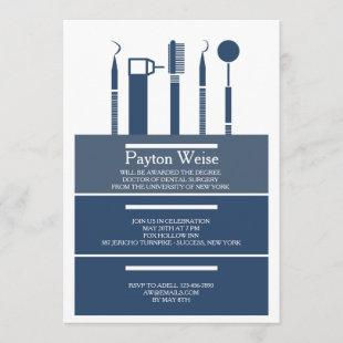 Dental Instruments Graduation Navy Blue Invitation