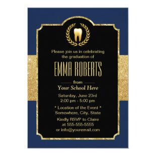 Dental School Graduation Navy Blue & Gold Dentist Invitation
