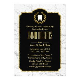 Dentist Dental School Graduation Modern Marble Invitation