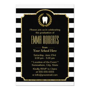Dentist Dental School Graduation Modern Stripes Invitation