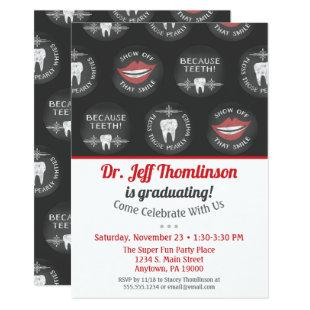 Dentist Graduation Invitation Chalk Dental Party