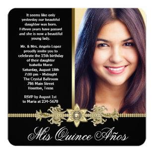 Diamond Gold Black and Gold Photo Quinceanera Invitation