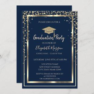 Diamonds Gold Graduation Cap Navy Blue Graduation Invitation