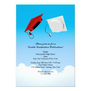 Double Graduation Hat Toss 3 Vertical Invitation
