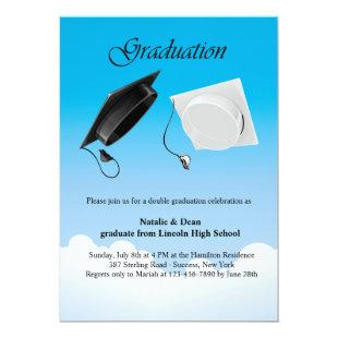 Double Graduation Hat Toss Invitation