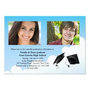 Double Graduation Hat Toss Photo Invitation