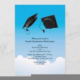 Double Graduation Hat Toss Vertical Black Invitation