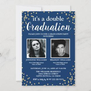 Double Graduation Two Photo Graduate Blue Invitation