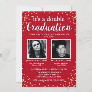Double Graduation Two Photo Graduate Red Invitation
