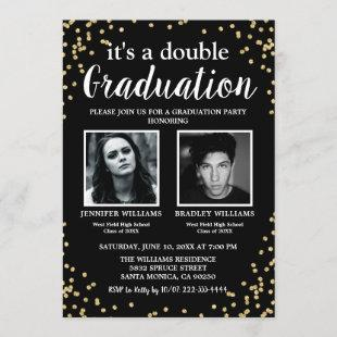 Double Graduation Two Photo Graduates Invitation