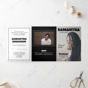 Dramatic Magazine Style Graduation Party Tri-Fold Invitation