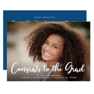 Drive By Graduation Party Photo Classic Blue Invitation
