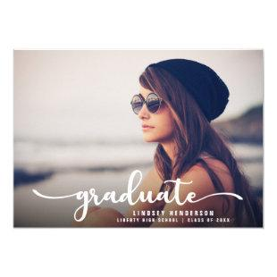Drive By Graduation Party White Script and Photo Invitation