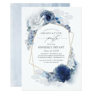 Dusty and Navy Blue Floral Ombre Graduation Invitation