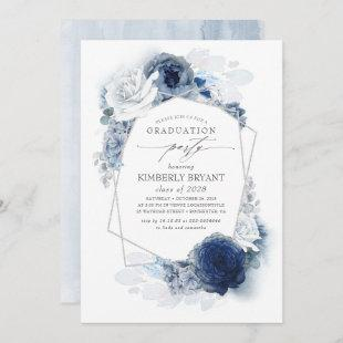 Dusty and Navy Blue Floral Silver Glitz Graduation Invitation