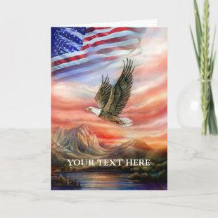 Eagle Scouting the Sky with Flag Card