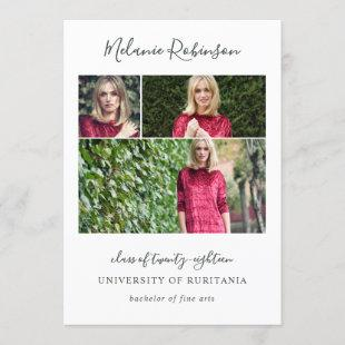 Editable Color 3 Photos Graduation Announcement