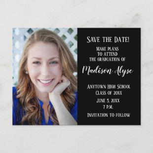 Editable Color Black Photo Graduation Save Date Announcement Postcard