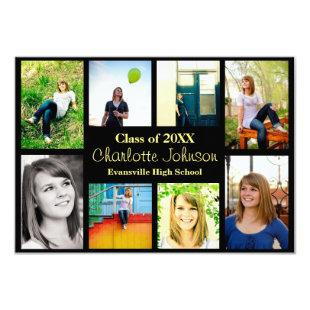 Eight/Nine Photos Graduation Announcement-3x5Black Invitation