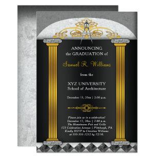 Elegant Architect Architecture Compass Graduation Invitation