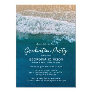 Elegant Beach Blue Ocean Graduation Party Invitation