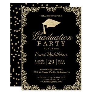 Elegant Black and Gold Graduation Invitation