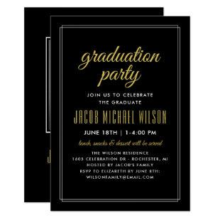 Elegant Black and Gold Graduation Party Invitation