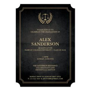 Elegant Black and Gold Law School Graduation Invitation