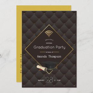Elegant Black and Gold Virtual Graduation Party Invitation