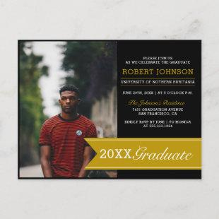 Elegant Black & Gold Banner Photo Graduation Party Invitation Postcard