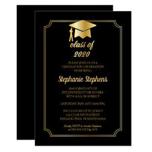 Elegant Black | Gold Cap College Graduation Party Invitation