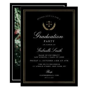 Elegant black & gold law school graduation party invitation