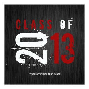 Elegant Black, White and Red Class of 2013 Invitation