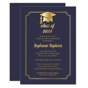 Elegant Blue | Gold Cap College Graduation Party Invitation