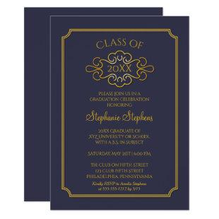 Elegant Blue | Gold College Graduation Party Invitation