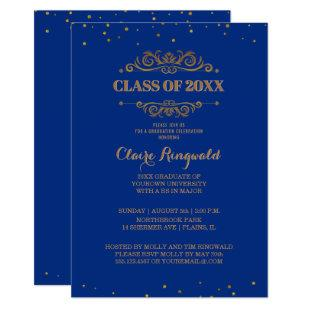 Elegant Blue Gold Formal College Graduation Party Invitation
