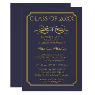Elegant Blue | Gold University Graduation Party Invitation