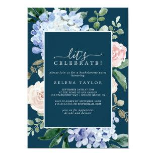 Elegant Blue Hydrangea | Navy Let's Celebrate Invitation