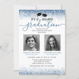 Elegant Blue Joint Graduation Photo Invitation