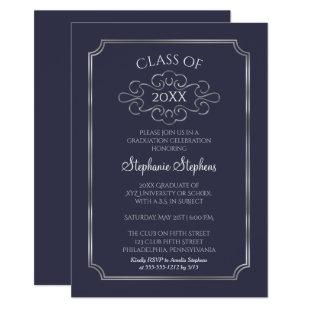Elegant Blue | Silver College Graduation Party Invitation