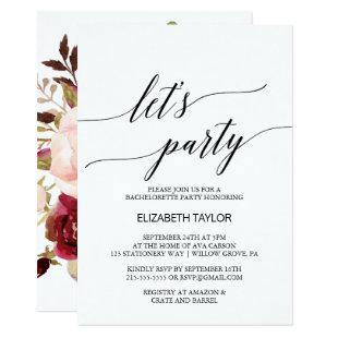 Elegant Calligraphy | Floral Backing Let's Party Invitation