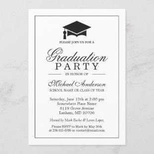 Elegant Classic Black White Graduation Party Invitation