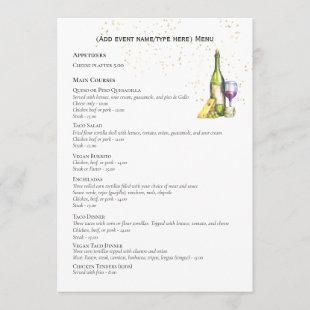 Elegant Double Sided MENU Template Wine Cheese