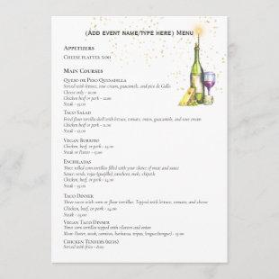 Elegant Doubles Sided MENU Template Wine Cheese