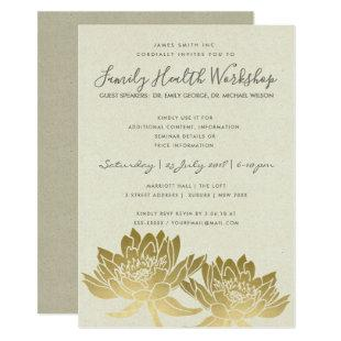 ELEGANT FAUX GOLD LOTUS KRAFT WORKSHOP EVENT INVITATION