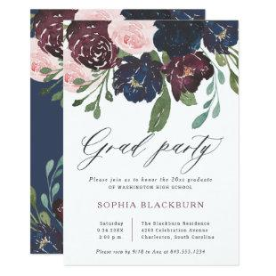 Elegant Floral | Navy Blue and Plum Grad Party Invitation