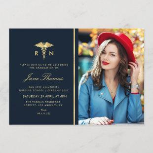 Elegant foil Nursing school graduation party Invitation