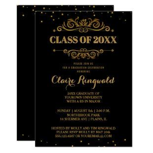 Elegant Formal Black Gold College Graduation Party Invitation